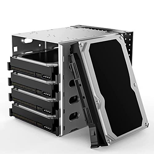 "Jaula de disco duro de acero inoxidable,5.25"" a 5X 3.5 Rack SAS para computadora SATA HDD Cage Rack,Bandeja de disco duro de jaula de acero inoxidable con espacio de ventilador"