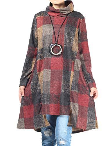 Mallimoda Damen Rollkragen Tunika Kleid Vintage Langarm Kariert Shirt A-Linie Pullover Oberteile mit Taschen Grau XL