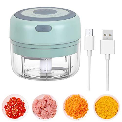 Mini-Zerkleinerer, elektrisch, 100 ml, kabellos, leistungsstark, 3,7 V, tragbarer Mini-Standmixer mit 2 Klingen, für Nüsse, Zwiebeln, Obst, Karotten, Lebensmittel für Babys