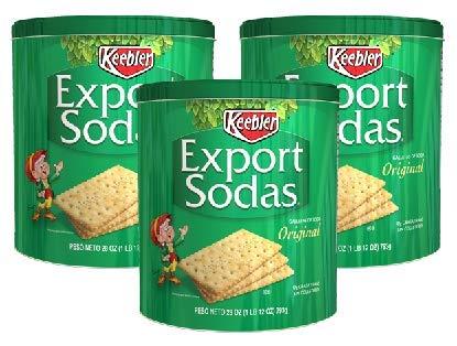 Keebler Export Sodas Original Crackers 28 Oz Can (Pack of 3)