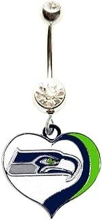Seattle Seahawks Football Heart Team Navel Belly Button Ring Body Jewelry Piercing 14 Gauge