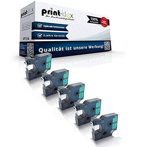 5x Kompatible Schriftbänder für Dymo D1 45019 Labelpoint 150 Labelpoint 200 Labelpoint 250 Labelpoint 300 Labelpoint 350 S0720590 12 mm x 7 m Black on Green Nylonband - Color Plus Serie