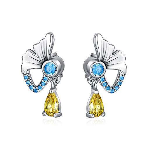 LONAGO Pendientes de mariposa de plata de ley 925 con diseño de mariposa azul para mujer