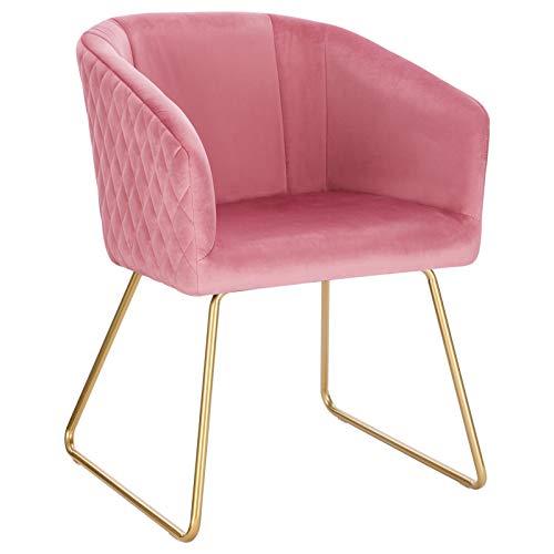 WOLTU BH271rs-1 1x Esszimmerstühle Küchenstuhl Polsterstuhl Wohnzimmerstuhl Sessel mit Armlehne, Sitzfläche aus Samt, Metall Gold Beine,Rosa