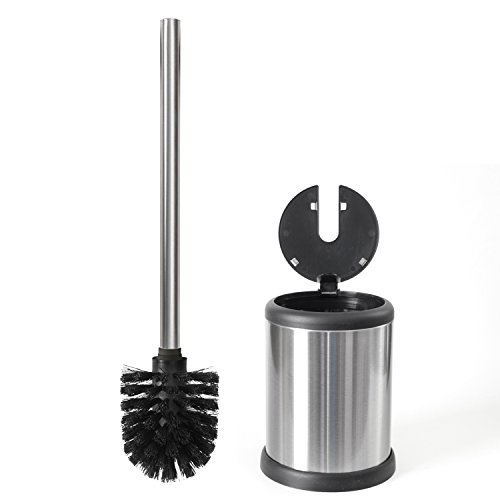 ToiletTree Products Deluxe Toilet Brush with Lid, Stainless Steel