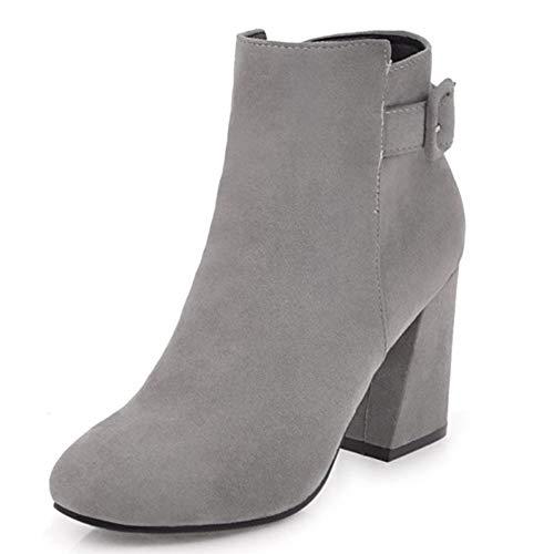 Comfortabel en veelzijdig temperament Enkel laarzen for vrouwen High naaldhak laarzen met gesp Pull On Casuals Puntschoen Zijrits Faux Leather Anti-Slip hjm nvxie jfidmra