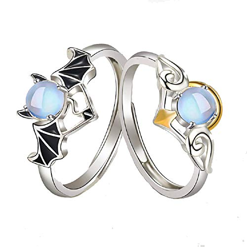 Demon and Angel Open Couple Rings Set Matching Ring Promise Ring Floating Blue Imitated Moonstone Rings Adjustable Valentine's Day Jewelry Gift