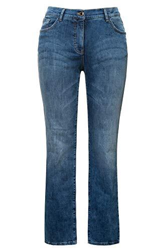 Ulla Popken Damen Destroyed Effekte, Mandy Straight Jeans, Blau (Bleached 92), (Herstellergröße: 46)