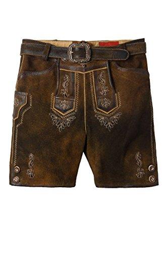 MOSER Trachten Kinder Lederhose kurz braun antik Andi 003852 von Moser, Material: Veloursleder, Größe 92