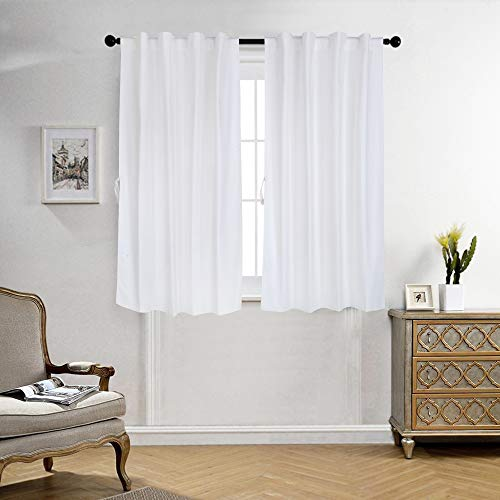 Cotton Curtains for Windows 5 Feet Set of 2, Linen Textured Windows Curtains for Home Decor, Hangs Elegantly with Back Loops (4.5ft x 5ft, Solid White)