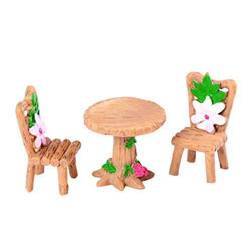 Steellwingsf Mini Lovely Table Chaises Résine Artisanat Miniature Paysage Décorations de Jardin extérieur Décor, Résine, Multicolore, Taille Unique