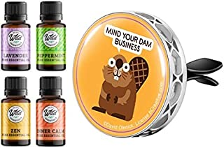 Wild Essentials Mind Your Business Beaver Enamel Aromatherapy Car Vent Clip Air Freshener Essential Oil Diffuser, 8 Color ...