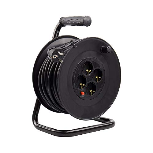Carrete Alargador de Cable 50m 3x1.5mm Negro