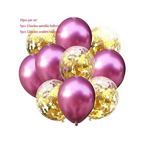 Aisha-Shop Globo de la decoración del Globo del cumpleaños Globo metálico Fiesta de cumpleaños Mezcla Oro Globos Decoración Niños Adultos Bola Inflable del Aire, Rosa roja