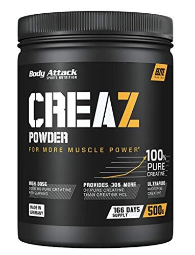 Body Attack CREAZ Powder - 500g - 166 Portionen, 100% reinstes Kreatin Pulver (bis zu 30% mehr Reinheit) - vegan, Halal, mikrofein und hochdosiert für mehr Leistung und Muskelaufbau - Made in Germany