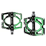 NIUNIUTU MZYRH Universal Ultralight Mountain Bike Pedals MTB Pedals Aluminium Alloy BMX Bicycle Flat Pedals MTB Cycling Sports Accessories MZ-Y09 Black Green (Black Tube) Special Size