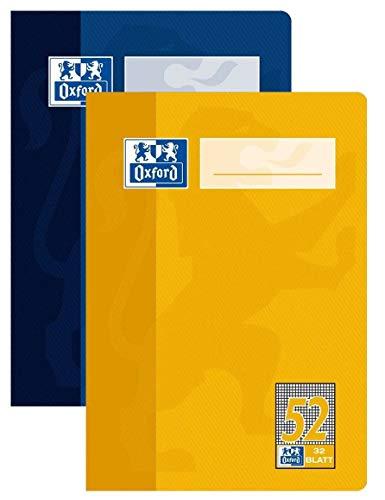 OXFORD 100050397 Oktavheft Schule 10er Pack A6 Lineatur 52 - kariert 32 Blatt sortiert gelb & blau