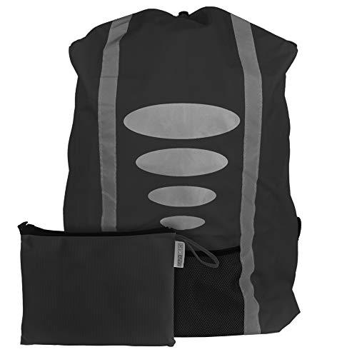 EAZY CASE Rucksack Schulranzen Regenschutz, Schutzhülle mit Reflektorstreifen, Regenüberzug, Regenschutzhülle wasserabweisend mit Reflektor und Tasche für mehr Sicherheit im Straßenverkehr, Schwarz