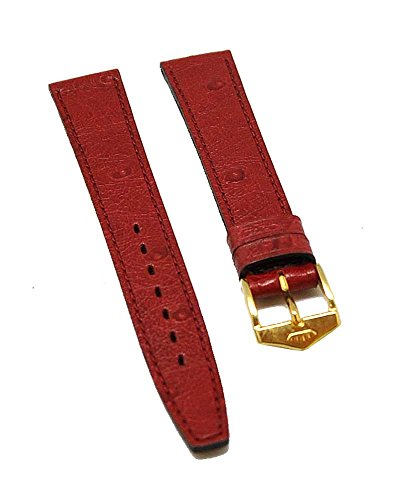 Fortis Leder Uhrenarmband Rot mit roter Naht 18mm gold 8515
