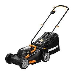 "Worx WG743 40V PowerShare 4.0Ah 17"" Lawn Mower w/ Mulching & Intellicut (2x20V Batteries),Black and Orange"
