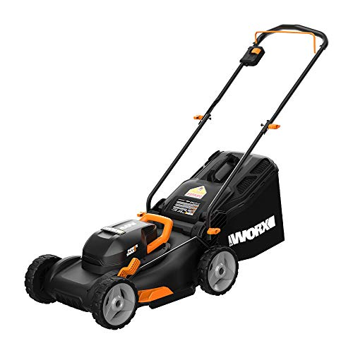 Worx WG743 40V PowerShare 4.0Ah 17' Lawn Mower w/ Mulching & Intellicut (2x20V Batteries),Black and Orange