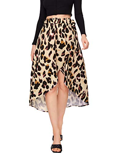 SheIn Women's Boho Ditsy Floral Knot High Waisted Wrap Split Midi Skirt Brown Floral X-Small