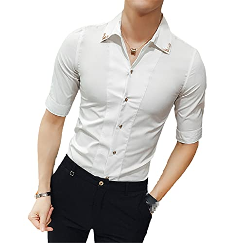 Hombres Camisas Stand Collar Estilo Chino Camisa Slim Fit Corea Media Manga Verano Club Soild Camisas, blanco, L