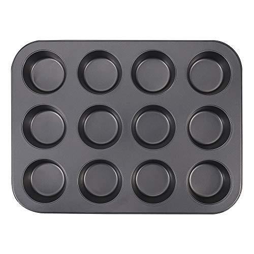 Opopark Stampo 12 Muffin, Stampi in Acciaio al Carbonio con Rivestimento Antiaderente...