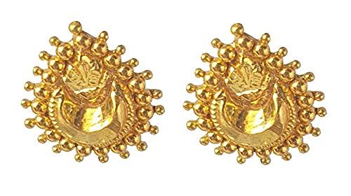 18 quilates genuino sólido (18 quilates) Amarillo Oro Fino pescado puntas de enganche pendientes Altura-1.5cm para las mujeres, las niñas, niños, para hombre Bali