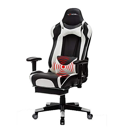 Computer Gaming Chair High Back PC Racing Chair Ergonomic Adjustable Executive Swivel Racing Chair with Headrest,Massager Lumbar Support,Retractible Footrest (White D) chair gaming white