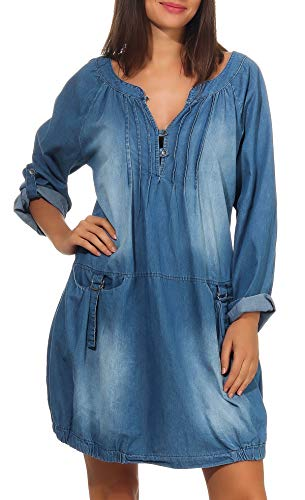 Malito Damen Jeanskleid   Maxikleid mit Taschen   schickes Freizeitkleid - Kostüm 6255 (hellblau)
