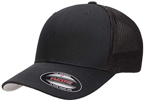 Flexfit Unisex-Adult's Trucker Mesh Cap, Black, One Size Fits All