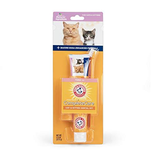Arm & Hammer Complete Care Cat & Kitten Dental Kit   2.5 oz Tuna Flavor Enzymatic Cat Toothpaste, Toothbrush, & Finger Brush   Baking Soda Enhanced Formula for Fresh Breath and Tartar Control, White