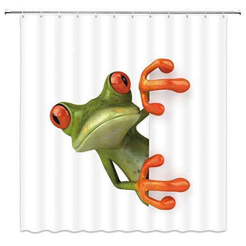 Grüner Frosch Netter Duschvorhang Badezimmer Lustiger Cartoon Wasserdichter Badvorhang Polyestergewebe Dafield Badschirm Mit 12 Haken 180x200cm AQ06