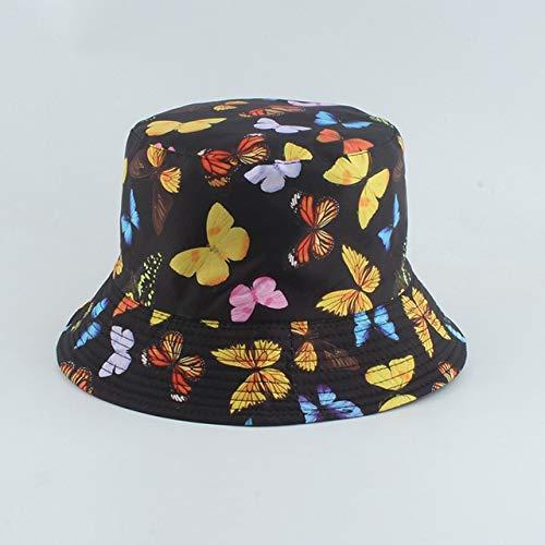 Reversible Negro Blanco Estampado Cubo Sombrero Verano Sol Gorras para Mujeres Hombres Sombrero de Pescador-Butterfly Black B
