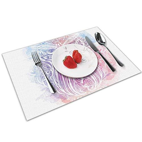 Set de Table Napperons faits à la main Owl Ethnique Woodland Bird Design avec motifs floraux Native American Boho Culture Blue Peach Table Mat 30X40CM