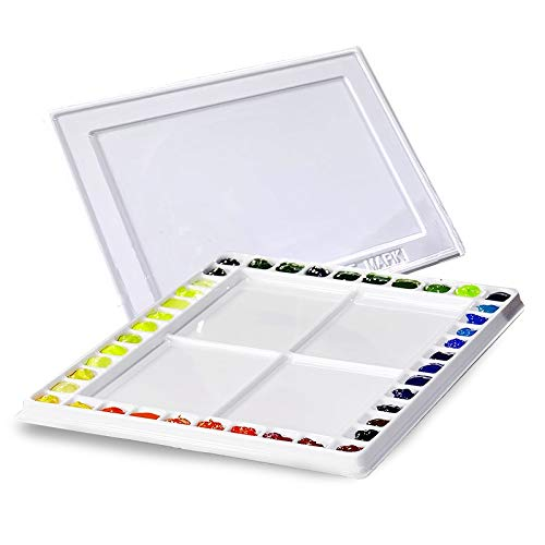 Creative Mark Watercolor Painting Palette with Cover 40 Paint Small Wells & 4 Large Mixing Area 12x16 Inch - White