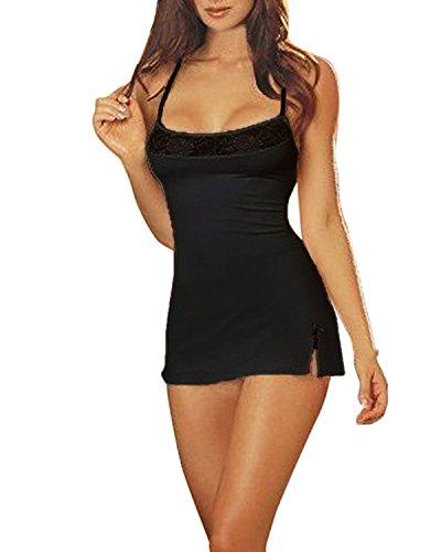 ZANZEA Damen Spitze Lingerie Babydolls Nachtwäsche Dessous Set mit G-String Nachthemd Kleid Schwarz EU 38/US 6