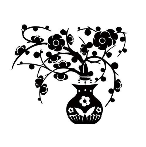 Zbzmm Creatief Aangepast met Decoratieve Raamdecoratie Muurstickers Milieubescherming DIY PVC Milieuvriendelijke Zwarte Vaas