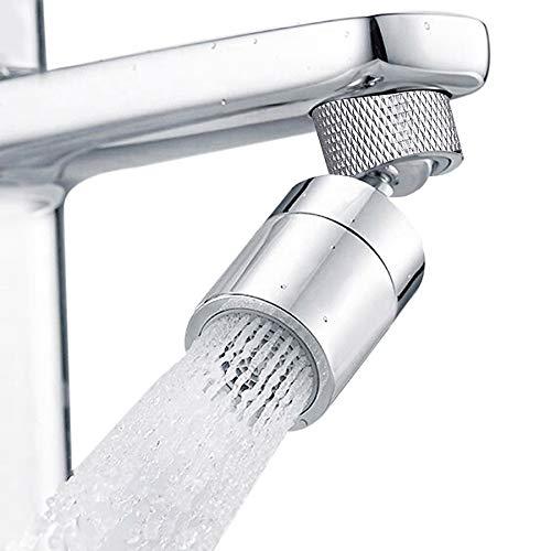Hibbent doppelfuntionaler Wasserhahn-Luftsprudler für Küche und Bad, Mischdüse 2-Strahlen, belüfteter Strahl und Brausestrahl, 80 °großer Drehwinkel drehbare Schwenkbrause, 22mm Innengewinde (FM22)