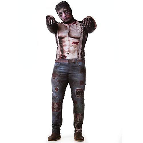 Fantasia de Halloween Adulto Masculino Zumbi The Walking Dead Com Luvas GG 48-50