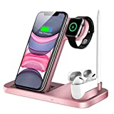 QI-EU Wireless Charger, 4 in 1 Qi-Certified Fast Charging Station Compatible Apple Watch Airpods Pro iPhone 12/11/11pro/X/XS/XR/Xs Max/8/8 Plus, Wireless Charging Stand Compatible Samsung Galaxy S20