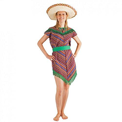 Krause & Sohn Kostüm Mexikanerin bunt/grün Kleid Mexiko Poncho-Kleid Andere Länder (XL)