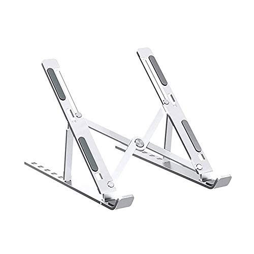 Voolok Laptop Stand, 6 Height Options Lightweight Foldable Size Aluminum Alloy Made, Withstand 11 Pounds Anti-slips Cratch Easily Emit Heat, for Indoor Office Car
