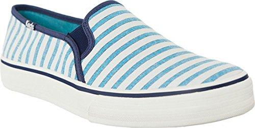 Keds, DBL Deck, Damen Sneaker Slipper, Canvas, Stripe Blue, Gr.