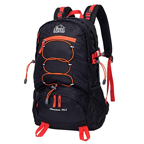 Aveler 40L Versatile Lightweight Nylon High Performance Hiking Backpack With Integrated Rain Cover