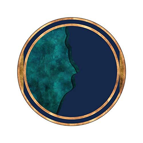 Alfombra de área para la sala de estar azul oscuro azul oscuro mosaico patrón de mosaico redondo alfombra de alfombra para el dormitorio alfombra navideña 100% poliéster dormitorio alfombra mullido al