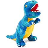 Blue T-Rex Plush Toy for Kids, Dinosaur Stuffed Animal (10 Inches)