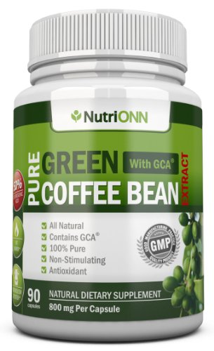 Green Coffee Bean Extract with GCA, 800mg - 90 Vegetarian Capsules - Best Value for Price! - Highest Quality Pure Natural Coffee Extract for Weight Loss