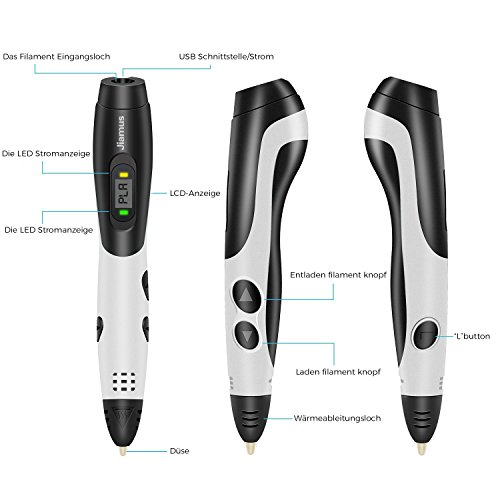 3D Stifte,Jiamus 3D Druck Stifte Set für Kinder mit LCD-Display kompatibel mit PLA ABS-Modus Optionen, Set mit 16 Farben 160 Fuß 1,75 mm Filament Minen und Erwachsene - 3